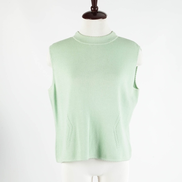 St. John Tops - ST. JOHN – Green Santana Knit Sleeveless Top